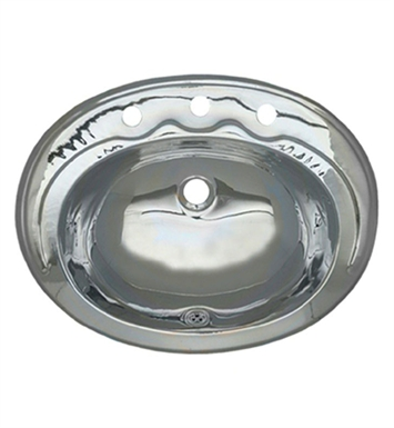 Whitehaus Smooth Oval Drop-in Basin with Overflow and Polished Stainless Steel Finish