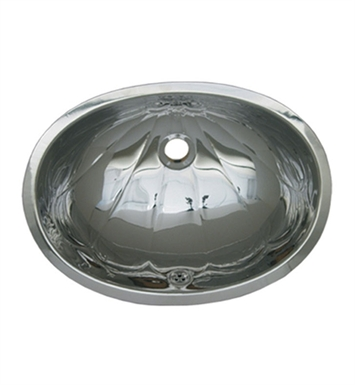 "Whitehaus WH603ACL Oval ""Fleur de Lise"" Pattern Undermount Basin with Overflow and Polished Stainless Steel Finish"