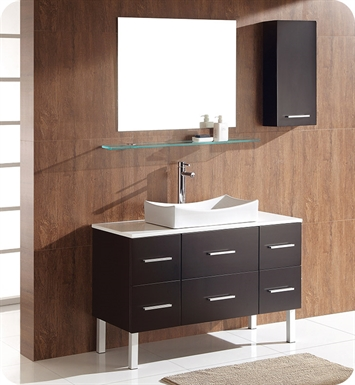 "Fresca FVN6123ES Distante 44"" Espresso Modern Bathroom Vanity with Mirror and Side Cabinet"