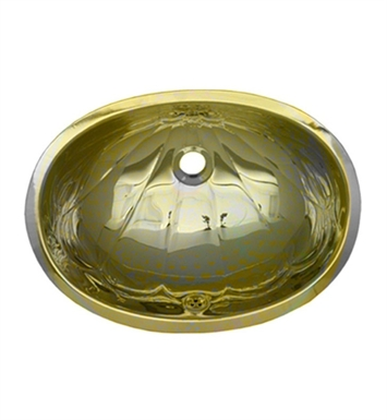 "Whitehaus WH603BCL Oval ""Fleur de Lise"" Pattern Undermount Basin with Overflow and Polished Brass Finish"