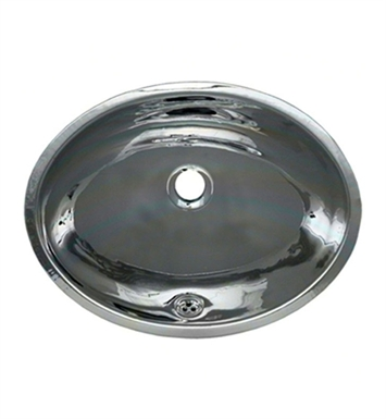 Whitehaus WH608ABL Smooth Oval Undermount Basin with Overflow and Polished Stainless Steel Finish