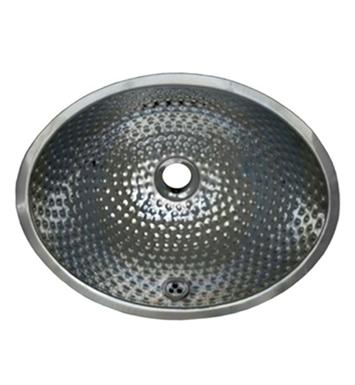Whitehaus Oval Ball Pein Hammered Textured Undermount Basin with Overflow and Polished Stainless Steel Finish