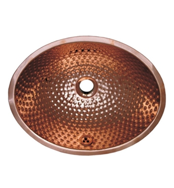 Whitehaus WH608CBM Oval Ball Pein Hammered Textured Undermount Basin with Overflow and Polished Copper Finish