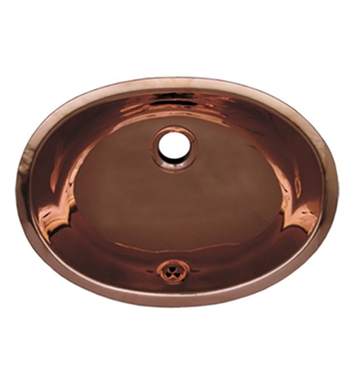 Whitehaus WH605CBL Smooth Oval Undermount Basin with Overflow and Polished Copper Finish