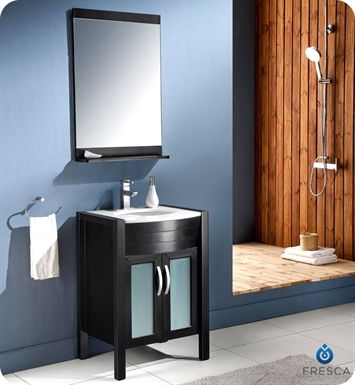"Fresca FVN5124ES Infinito 24"" Modern Bathroom Vanity Set with Mirror in Espresso"