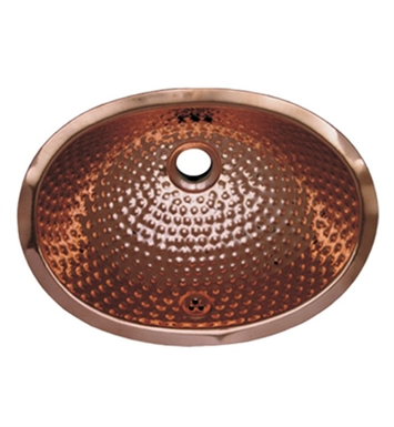 Whitehaus WH605CBM Oval Ball Pein Hammered Textured Undermount Basin with Overflow and Polished Copper Finish