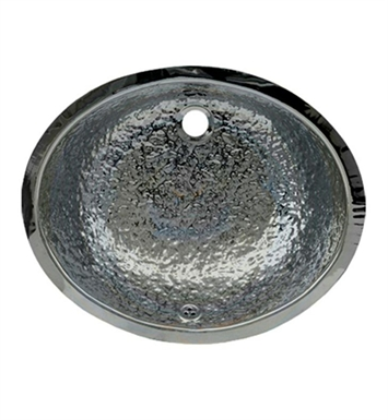 Whitehaus Oval Hammered Textured Undermount Basin with Overflow and Polished Stainless Steel Finish