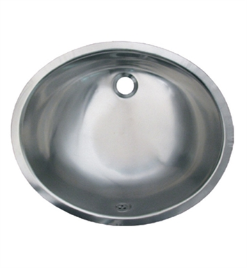 Whitehaus WH920ASL Smooth Oval Undermount Basin with Overflow and Satin Stainless Steel Finish