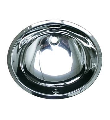 Whitehaus Smooth Oval Undermount Basin with Overflow and Polished Stainless Steel Finish
