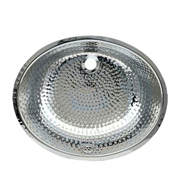Whitehaus WH920ABM Oval Ball Pein Hammered Textured Undermount Basin with Overflow