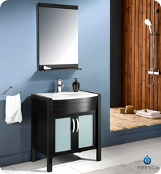 "Fresca FVN5130ES Infinito 30"" Modern Bathroom Vanity Set with Mirror in Espresso"