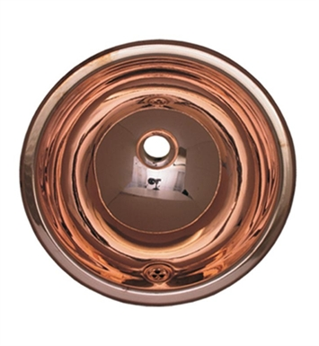Whitehaus WH634CBL Smooth Round Drop-in Basin with Overflow and Polished Copper Finish