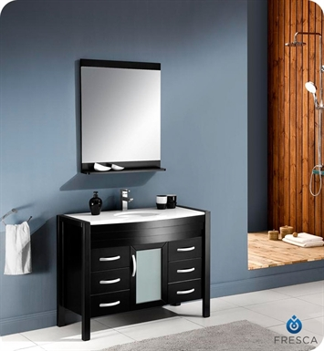 "Fresca FVN5143ES Infinito 44"" Modern Bathroom Vanity Set with Mirror in Espresso"