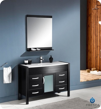 "Fresca FVN5147ES Infinito 47"" Modern Bathroom Vanity Set with Mirror in Espresso"