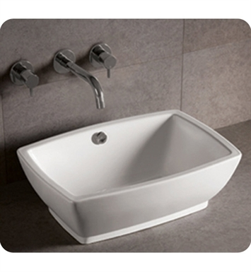 Whitehaus WHKN1065 Rectangular Above Mount Basin with Overflow and Center Drain - Isabella Series