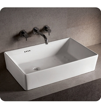 Whitehaus WHKN1081 Rectangular Above Mount Basin with Overflow and Offset Center Drain - Isabella Series