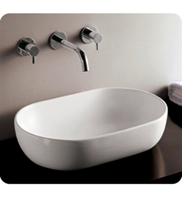 Whitehaus WHKN1080 Oval Above Mount Basin with Center Drain - Isabella Series