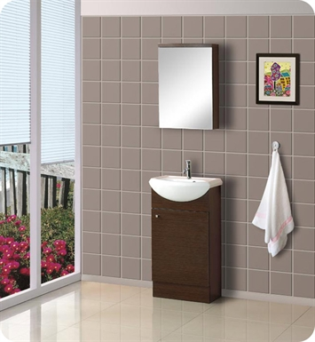 "DreamLine 18"" Floor Standing Modern Bathroom Vanity - w/Counter and Medicine Cabinet"