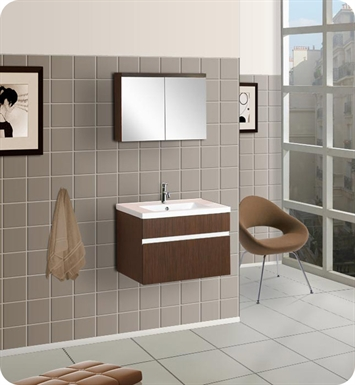 DreamLine Wall-Mounted Modern Bathroom Vanity - w/Porcelain Counter and Medicine Cabinet