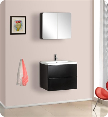 DreamLine DLVRB-104 Wall-Mounted Modern Bathroom Vanity - w/Porcelain Counter and Medicine Cabinet