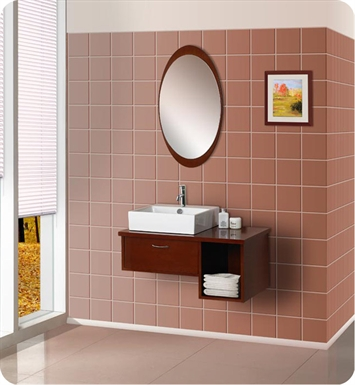 DreamLine DLVRB-134-WN Wall-Mounted Modern Bathroom Vanity - w/Porcelain Sink and Mirror