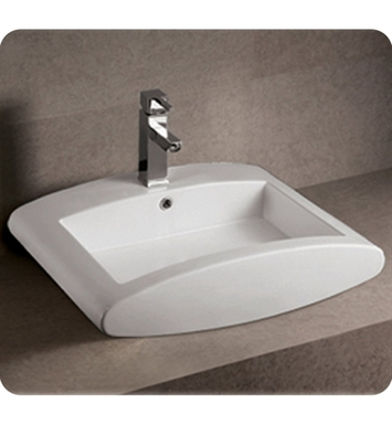 Whitehaus WHKN1099 Rectangular Wall Mount Basin with Integrated Rectangular Bowl and Rear Center Drain - Isabella Series