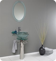 "Fresca FVN1019 Ovale 24"" Modern Glass Bathroom Vanity with Frosted Edge Mirror"
