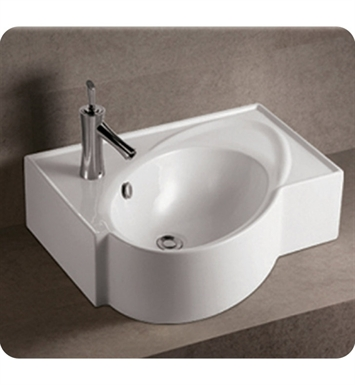 Whitehaus WHKN1129 Rectangular Wall Mount Basin with Integrated Oval Bowl and Rear Center Drain - Isabella Series