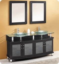 "Fresca FVN3310ES Contento 59"" Double Sink Modern Bathroom Vanity with Mirrors in Espresso"