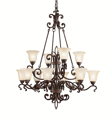 Kichler 2092CZ Wilton Collection Chandelier 12 Light in Carre Bronze