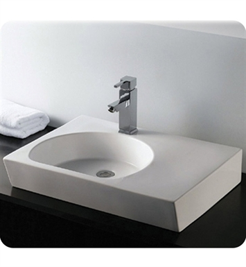 Whitehaus WHKN1127 Rectangular Wall Mount Basin with Integrated Reversed U-Shaped Bowl and Center Drain - Isabella Series