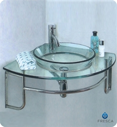 Fresca FVN1040 Ordinato Corner Mount Modern Glass Bathroom Vanity