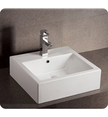 Whitehaus WHKN1059 Square Wall Mount Basin with Overflow and Rear Center Drain - Isabella Series