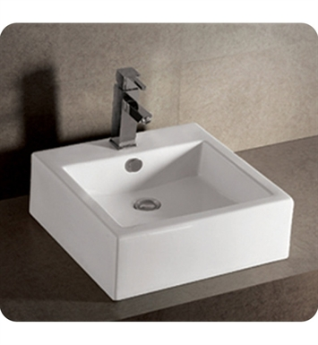 Whitehaus Square Wall Mount Basin with Overflow and Rear Center Drain - Isabella Series