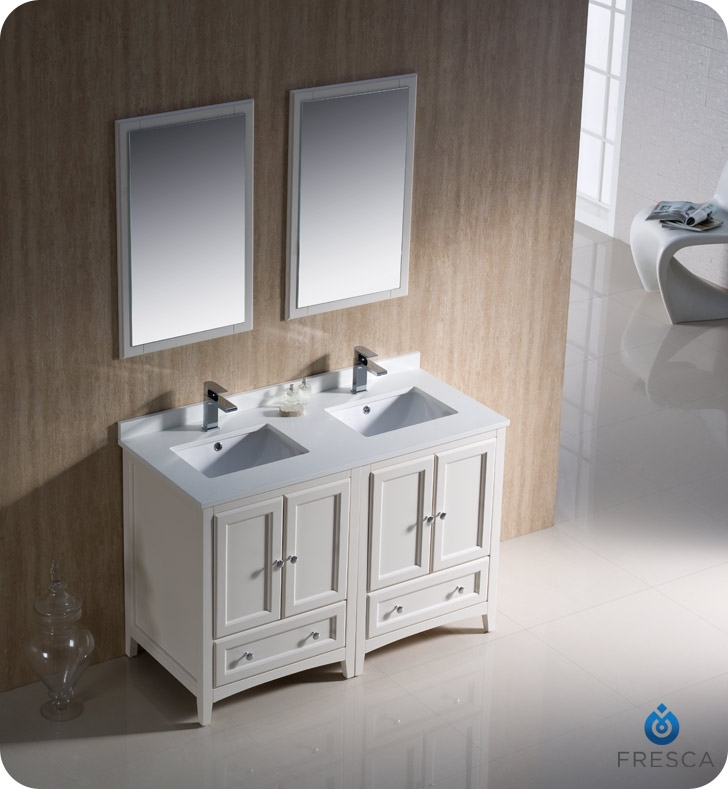 Fresca fcb20 2424aw oxford 48 antique white traditional - Antique white double sink bathroom vanities ...