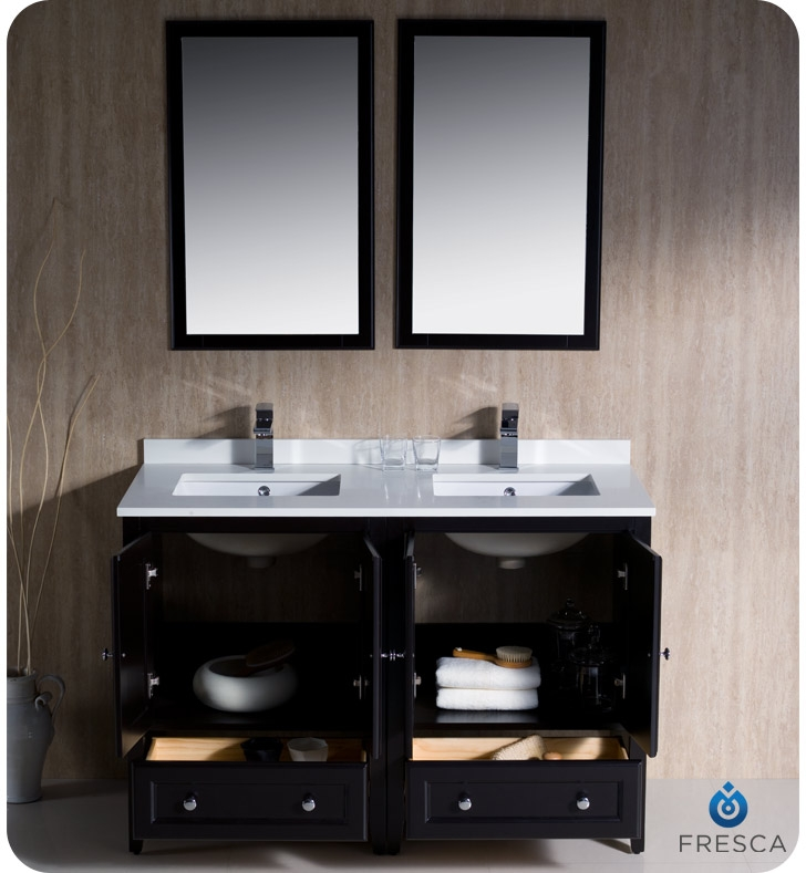 """Bathroom Vanity 48 Inch Double Sink: Fresca FCB20-2424ES Oxford 48"""" Espresso Traditional Double"""