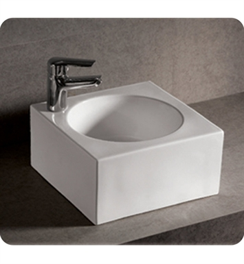 Whitehaus WHKN1093 Square Wall Mount Basin with Integrated Round Bowl and Center Drain - Isabella Series