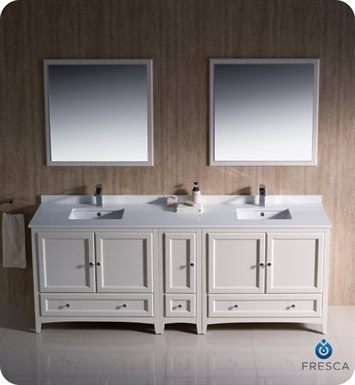 Fresca fcb20 361236aw oxford 83 antique white traditional - Antique white double sink bathroom vanities ...
