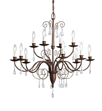 Kichler 1633TZ Barcelona Collection Chandelier 12 Light in Tannery Bronze