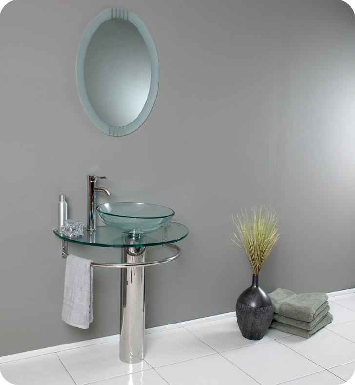 Fresca fvn1060 attrazione 30 modern glass bathroom vanity - Modern vanity mirrors for bathroom ...