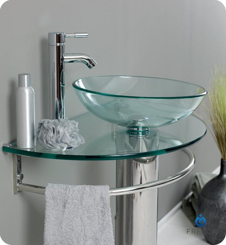 Fresca Fvn1060 Attrazione 30 Modern Glass Bathroom Vanity With Frosted Edge Mirror