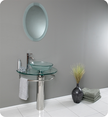 "Fresca FVN1060 Attrazione 30"" Modern Glass Bathroom Vanity with Frosted Edge Mirror"