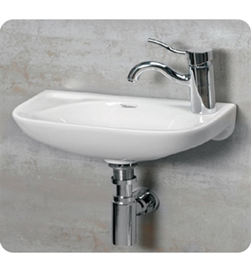 Whitehaus WH1-102R Small Wall Mount Basin with Center Drain and Right Side Drilling for Single Hole Faucet - Isabella Series