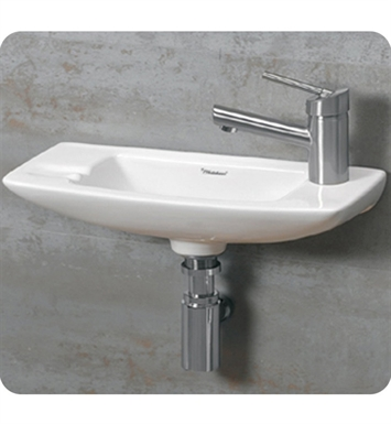 Whitehaus WH1-103R Small Wall Mount Basin with Center Drain and Right Side Drilling for Single Hole Faucet - Isabella Series