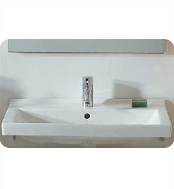 Whitehaus LU024 Rectangular Wall Mount Basin with Chrome Overflow and Rear Center Drain - China Series