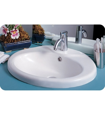 Whitehaus SLY59 SLY Oval Drop-in Basin with Chrome Overflow - China Series