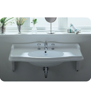 Whitehaus Large Rectangular Wall Mount Basin with Chrome Overflow and Integrated Oval Bowl - China Series