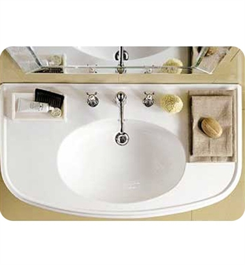 Whitehaus BTZ44-MNSLEN Large U-Shaped Wall Mount Basin with Chrome Overflow and Integrated Oval Bowl - China Series