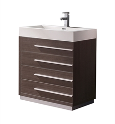 "Fresca FCB8030GO-I Livello 30"" Gray Oak Modern Bathroom Cabinet with Integrated Sink"