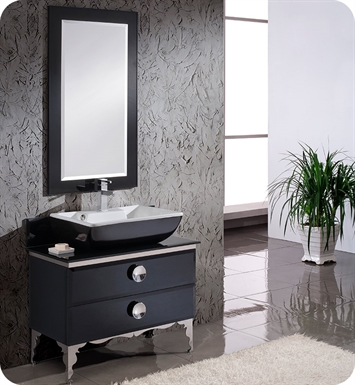 "Fresca FVN7712BL Moselle 36"" Modern Bathroom Vanity in Black with Glass Countertop and Mirror"